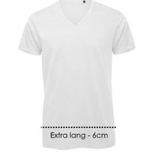 Extra lang T-shirt met v-hals