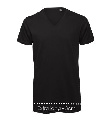 Extra lang v-hals zwart